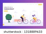 physical male and female riding ... | Shutterstock .eps vector #1318889633