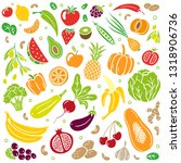 trendy hand drawn healthy food. ... | Shutterstock .eps vector #1318906736