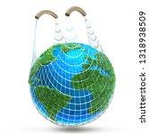 green earth made of grass in... | Shutterstock . vector #1318938509