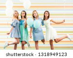 pretty smiling teenage girls in ... | Shutterstock . vector #1318949123