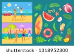 summer party by beach set... | Shutterstock .eps vector #1318952300