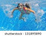 happy active underwater child... | Shutterstock . vector #131895890