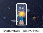3d paper art of smartphone or... | Shutterstock .eps vector #1318971953
