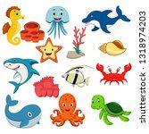 sea animals cartoon set | Shutterstock .eps vector #1318974203