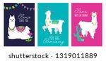 set of cute card with alpacas.... | Shutterstock .eps vector #1319011889