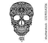 hand drawn patterned skull ... | Shutterstock .eps vector #1319014256