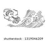 medieval art ocean storm wind... | Shutterstock .eps vector #1319046209