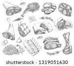 vector set of different meats... | Shutterstock .eps vector #1319051630