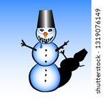 snowman with bucket | Shutterstock .eps vector #1319076149