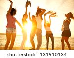 happy young teens dancing at... | Shutterstock . vector #131910134