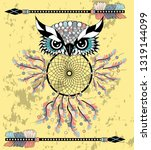 dream catcher with owl. boho... | Shutterstock .eps vector #1319144099