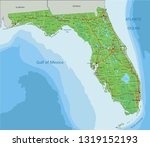 high detailed florida physical... | Shutterstock .eps vector #1319152193