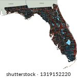 high detailed florida road map... | Shutterstock .eps vector #1319152220