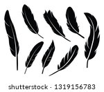 Feathers Vector Set In A Flat...