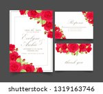 floral wedding invitation with...   Shutterstock .eps vector #1319163746