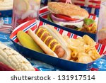 Hot Dogs  Corn And Burgers On...