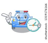 with clock police car in the... | Shutterstock .eps vector #1319176166