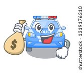 with money bag police car on a... | Shutterstock .eps vector #1319176310