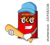 playing baseball red passport... | Shutterstock .eps vector #1319182136