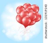 heart balloons flying on light... | Shutterstock . vector #131919140