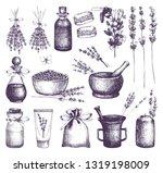 vector set of ink hand drawn... | Shutterstock .eps vector #1319198009