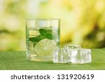 glass of water with ice  mint... | Shutterstock . vector #131920619