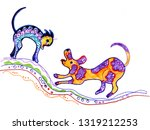the eternal battle of dogs and...   Shutterstock . vector #1319212253