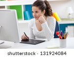 young graphic designer working... | Shutterstock . vector #131924084