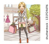 fashion girl at shopping | Shutterstock .eps vector #131924696