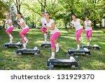 group of fitness women... | Shutterstock . vector #131929370
