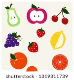 set icons fruits vector with... | Shutterstock .eps vector #1319311739
