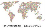 wolrld map   dotted vector... | Shutterstock .eps vector #1319324423