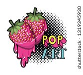 strawberry dripping icon | Shutterstock .eps vector #1319345930