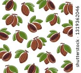 cacao beans background. vector | Shutterstock .eps vector #1319362046