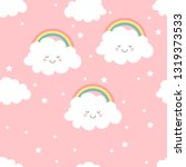 cute kawaii clouds and rainbow... | Shutterstock .eps vector #1319373533
