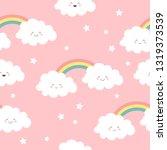cute kawaii clouds and rainbow... | Shutterstock .eps vector #1319373539
