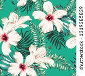 tropical white hibiscus flowers ...   Shutterstock .eps vector #1319385839