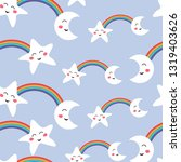 seamless pattern funny kawaii...   Shutterstock .eps vector #1319403626