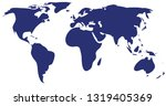 blue simle vector of world map | Shutterstock .eps vector #1319405369