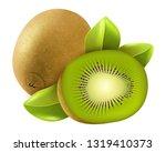 realistic kiwi fruit vector | Shutterstock .eps vector #1319410373