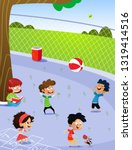 children playing in the... | Shutterstock .eps vector #1319414516