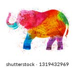 colorful indian elephant.... | Shutterstock .eps vector #1319432969