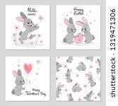 cute bunny vector illustrations.... | Shutterstock .eps vector #1319471306
