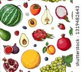 fruits. fresh food. watermelon  ... | Shutterstock .eps vector #1319482643