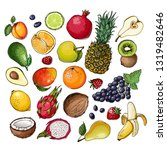 fruits. fresh food. watermelon  ... | Shutterstock .eps vector #1319482646