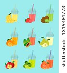 a set of fruit smoothies in... | Shutterstock .eps vector #1319484773
