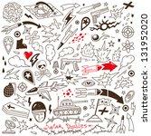 war   doodles collection   Shutterstock .eps vector #131952020