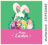 happy easter.egg hunt.greeting... | Shutterstock .eps vector #1319520683