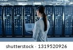 back shot of a female data... | Shutterstock . vector #1319520926