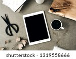 flat lay of tablet with copy... | Shutterstock . vector #1319558666